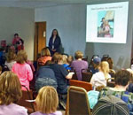Photo of author Kathleen Ernst giving her American Girl Fans program April 22, 2013, at the public library in Eagle, WI.