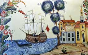 Painting of Swedish Immigrants Sailing to America