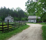 Photo of the Kvaale homestead farmyard at Old World Wisconsin.
