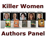 Graphic with photos and book covers of five mystery-thriller authors.