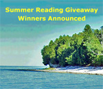 Summer Reading Giveaway Winners image using Rock Island Wisconsin fishing village beach photo by Scott Meeker for bestselling author Kathleen Ernst.
