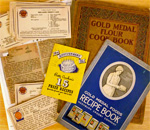 Photo montage of cookbooks and recipe cards belonging to bestselling author Kathleen Ernst.