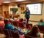 Photo of bestselling author Kathleen Ernst doing her American Girl Fans program October 17, 2016 at the Kiel Wisconsin Public Library. Photo by Scott Meeker.