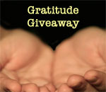 Photo of a pair of human hands open palms up with the words Gratitude Giveaway above them.