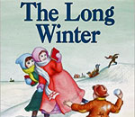 Partial front book cover image of The Long Winter, written by bestselling author Laura Ingalls Wilder, illustrated by Garth Williams, published by Harper & Row.