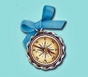 illustration of the antique compass that appears in Catch The Wind, a Caroline American Girl book by author Kathleen Ernst