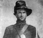 Tintype photograph of 1st Sergeant James Francis Cantwell, Company G, 80th Indiana Volunteer Infantry Regiment, Union Army, American Civil War, 1861.