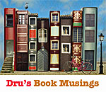 Image of a city street made of book buildings from Dru's Book Musings blog.