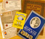 Photo montage of award-winning American food recipe cards and booklets circa 1910 to 1940.