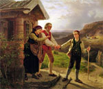 Painting entitled Youngest Son's Farewell created by Norwegian artist Adolf Tideland, 1867