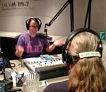 Photo of author Kathleen Ernst being interviewed by Stephanie Lecci on Milwaukee Public Radio's Lake Effect show.