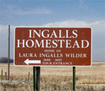 Photo of Ingalls Homestead roadside sign near De Smet, South Dakota, taken by bestselling author Kathleen Ernst.