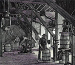 Illustration from a 19th-century article shows a packer at work. Once each barrel was filled, the lid was nailed on top and it was ready to go