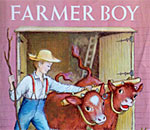 Partial image of the front book cover of Farmer Boy written by bestselling author Laura Ingalls Wilder, with illustrations by Garth Williams, 1953 edition, published by Harper & Row.