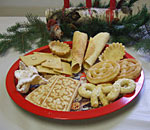 Photo of a plate filled with Norwegian Christmas treats.