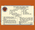 Front side of 1930's Gold Medal Flour recipe card for Old-Time Molasses Cake.