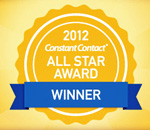 Seal of the Constant Contact 2012 All Star Award for email marketing.