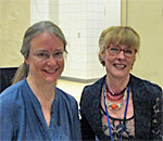 Photo of bestselling author Kathleen Ernst and Pamela Smith Hill, who edited Pioneer Girl, the autobiography of Laura Ingalls Wilder.
