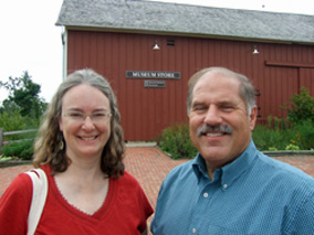 Photo by Scott Meeker of bestselling author Kathleen Ernst and Marty Perkins at Old World Wisconsin outdoor history museum.