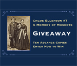 Graphic for Chloe Ellefson mystery #7, A Memory of Muskets by bestselling author Kathleen Ernst, Advance Reader Copies Giveaway. Created by Scott Meeker.