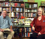 Bestselling author Kathleen Ernst and author Doug Moe at the launch party for her non-fiction book A Setter's Year: Pioneer Life Through The Seasons held at Mystery To Me Bookstore in Madison, WI, on September 17, 2015.