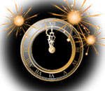 Image of a New Year's Eve clock showing 2 minutes to Midnight.