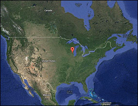 Customer Google map image of upper North American.