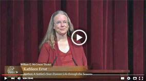 Video screen capture of bestselling author Kathleen Ernst speaking about her second nonfiction history book, A Settler's Year: Pioneer Life Through The Seasons, at the US National Archives Noon Lecture series on October 19, 2015 in Washington, DC.