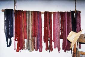 Hanging Display of Colorful Native-Dyed Yarns