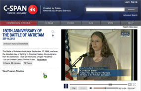 Kathleen Ernst speaking on C-SPAN at 150th anniversary event at Antietam National Battlefield Park on September 16, 2012.