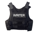 Photo of protective vest of bestselling author Kathleen Ernst. Photo by Scott Meeker.