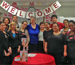 Photo of author Kathleen Ernst with staff of the American Girl Miami store 30 July 2013.