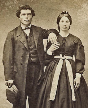 Carte de Visite (CDV) of a young couple. Image taken by Bishop & Son, Watertown, Wisconsin circa 1860s, now in the collection of bestselling author Kathleen Ernst.