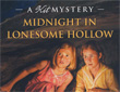 "Partial image of the book cover of ""Midnight In Lonesome Hollow: A Kit Kittredge Mystery"" written by Kathleen Ernst, published by American Girl."