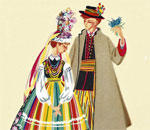 Folk dress from the Lowicz region, by Irena Czarnecka; card printed in Poland, partial print