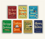 Front book covers if the first seven Chloe Ellefson mysteries, written by bestselling author Kathleen Ernst, published by Midnight Ink Books.