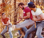 Bestselling author Kathleen Ernst and her partner winning the Jack & Jill Crosscut Saw contest while studying forestry in college.