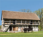 Photo of the German Schultz Farm half timbered stable at Old World Wisconsin. Photo by Loyd Heath.
