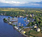 Aerial view of Sackets Harbor, New York.