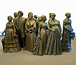 Statues of women suffraget leaders in the Women's Rights National Historical Park in Seneca Falls, New York.