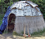 Photo by Kathleen Ernst of a Native American lodge at Grand Portage National Monument, Minnesota.