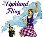 "Partial image of book cover of ""Highland Fling"" by Kathleen Ernst, published by Cricket Books."