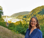 Photo of bestselling author Kathleen Ernst overlooking Harpers Ferry, WV in September 2012.