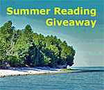 Summer Reading Giveaway image using Rock Island Wisconsin fishing village beach photo by Scott Meeker for bestselling author Kathleen Ernst.