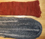 Photo of two Nålbinding knitted scarves created by Kathleen Ernst and her friend Becky.