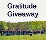 Gratitude Giveaway graphic featuring American Civil War Union Army reenactors. Graphic by Scott Meeker.
