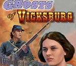 "Partial image of book cover of ""Ghosts of Vicksburg"" written by Kathleen Ernst, published by White Mane Books."