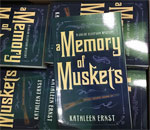 First box of the newest Chloe Ellefson mystery book, A Memory of Muskets, written by bestselling author Kathleen Ernst, published by Midnight Ink Books. Photo taken 20 September 2016 by Joanne Berg, owner of A Mystery To Me Bookstore in Madison, WI.