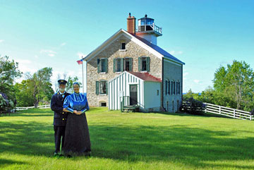 Author Kathleen Ernst and her husband serving as live-in docents at the Pottawatomie Lighthouse on Rock Island WI in 2012.