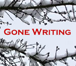 "Stylized Snow on bare branches ""Gone Writing"" graphic by Scott Meeker."
